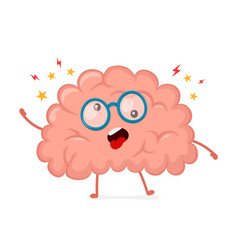 Funny cute crazy mad sick brain vector