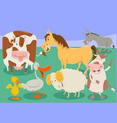 Funny farm animal characters group cartoon vector