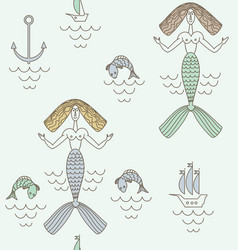 funny marine mermaid with beige hair boats and vector image