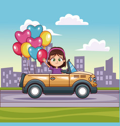 Girl driving convertible car in the city vector
