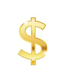 golden dollar symbol isolated web icon vector image