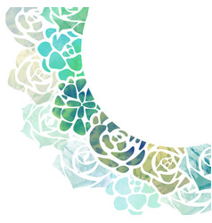 Half round frame of watercolor succulents with a vector