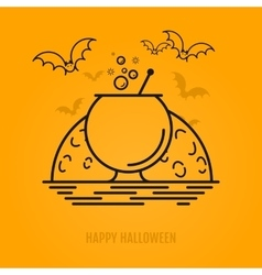 Halloween conceptc with bats moon coffin and vector image