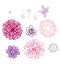hand draw flowers set isolated on white vector image