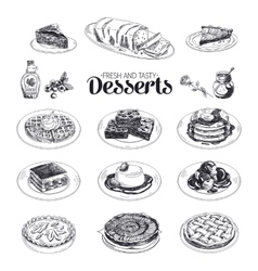 hand drawn sketch restaurant desserts set vector image vector image