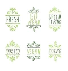 Hand-sketched typographic elements Vegan product vector