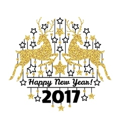 Happy new year card with golden deer silhouettes vector