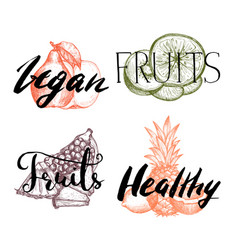 Healthy vegan food hand drawn labels set vector