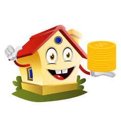 house is holding coins on white background vector image