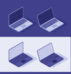 isometric laptop in light and dart theme flat vector image