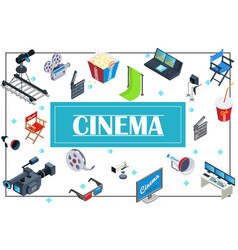 isometric movie production concept vector image