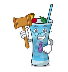 Judge blue hawaii mascot cartoon vector