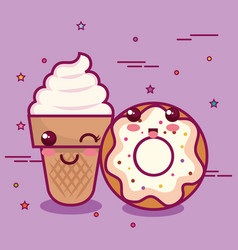 kawaii breakfast design vector image