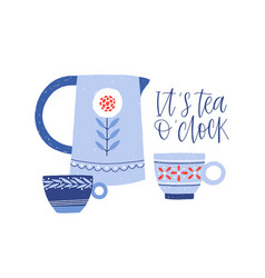 kettle and teacups flat hand vector image
