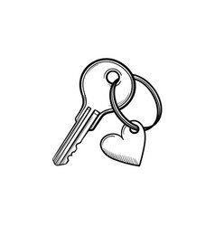 key with heart shaped keyholder hand drawn outline vector image