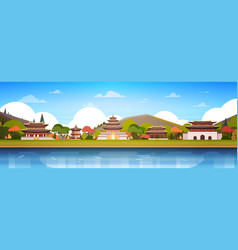 korea palaces on river landscape south korean vector image