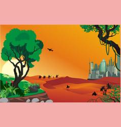 landscape - sunrise in the desert vector image