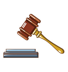 Lifted judge gavel icon cartoon style vector