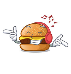 Listening music cheese burger located on plate vector