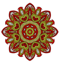 Mandala doodle drawing colorful floral round vector