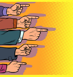 many hands point finger vector image