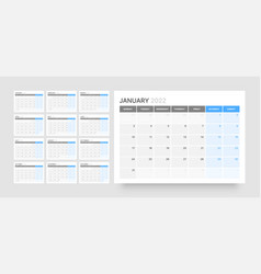 Monthly calendar for 2022 year week starts vector