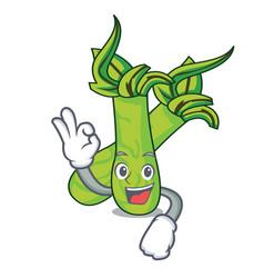 Okay wasabi character cartoon style vector