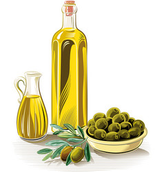 Olives in a bowl and extra virgin olive oil vector