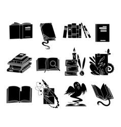 open books black silhouettes fairy tale book vector image