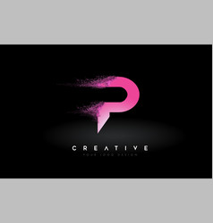P letter logo with dispersion effect and purple vector