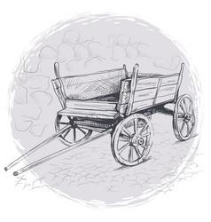 pencil drawing old cart on a gray background vector image