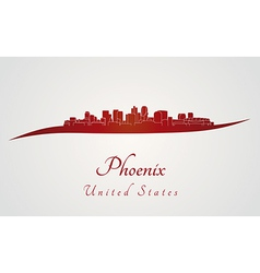 Phoenix skyline in red vector