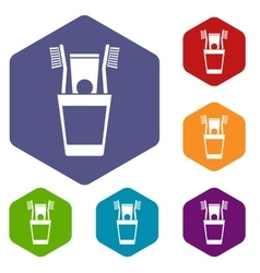 Plastic cup with brushes icons set vector
