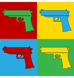 Pop art gun icons vector image