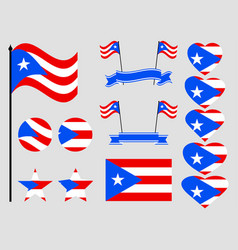 puerto rico flag set symbols flag in heart vector image