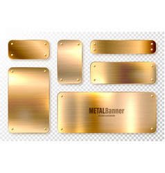 realistic shiny metal banners set brushed steel vector image