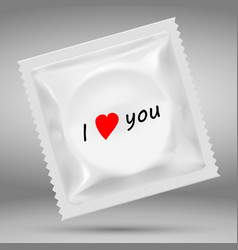 realistic white blank template packaging condom vector image