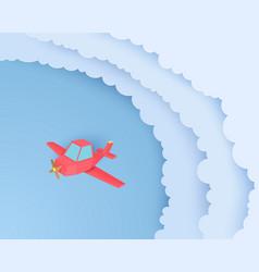 Red airplain flies through clouds in paper cut vector