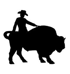 Rodeo man on a buffalo bison bull silhouette vector
