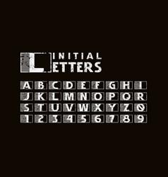 Sans serif initial letters with vintage texture vector