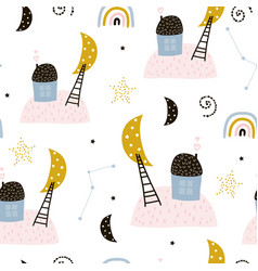 seamless childish pattern with houses starry sky vector image