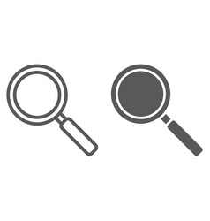 search line and glyph icon enlarge and vector image