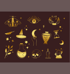 set boho witch and magic icon collection vector image