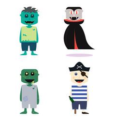 set halloween costume zombie characters vector image