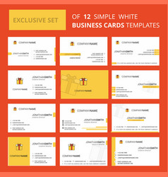 Set of 12 giftbox creative busienss card template vector