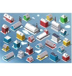 Set of Isometric Building in Winter vector image