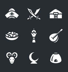 set of kazakhstan nomad icons vector image