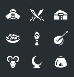 Set of kazakhstan nomad icons vector