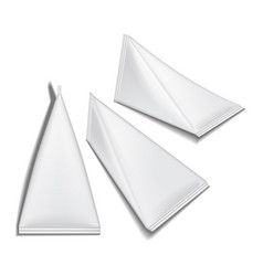 set of white triangular packet carton set juice or vector image