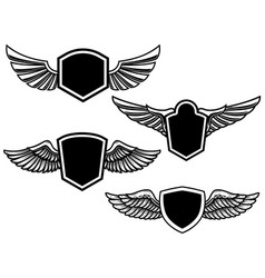 set of winged emblems design element for poster vector image